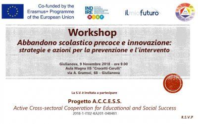 Abbandono scolastico precoce e innovazione – Workshop di presentazione del progetto Erasmus+ ACCESS